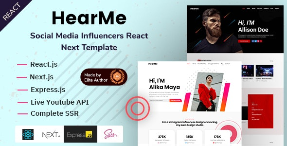 HearMe - React Next Social Media Influencers Template